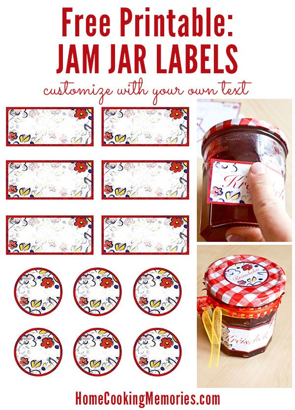 Free Printable: Jar Labels -- use for canning homemade jam or jelly, or for any food gift in a jar. Easy to customize with text or print and write on them by hand.