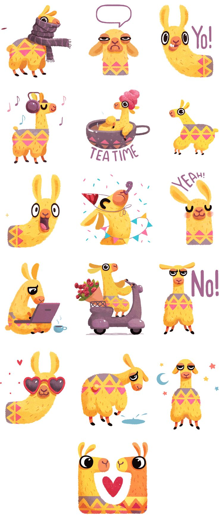Hipster Llama iOS10 Sticker Pack on Behance