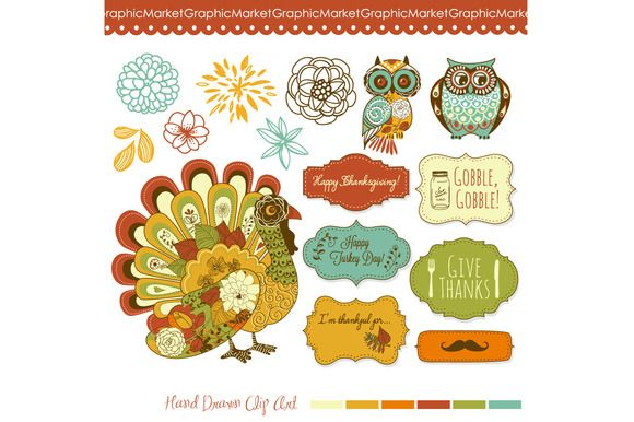 Check out Thanksgiving, turkey, fall clip art by GraphicMarket on Creative Market http://crtv.mk/dNRy