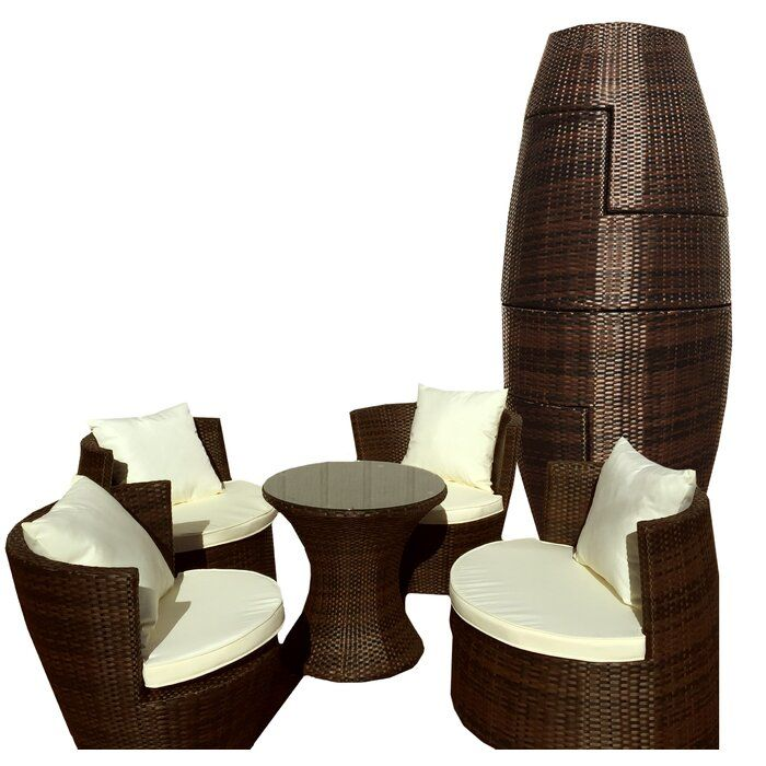 Geo Vase 5 Piece Sunbrella Conversational Set With Cushions Lounge Seating White Throw Pillows Resin Wicker Furniture