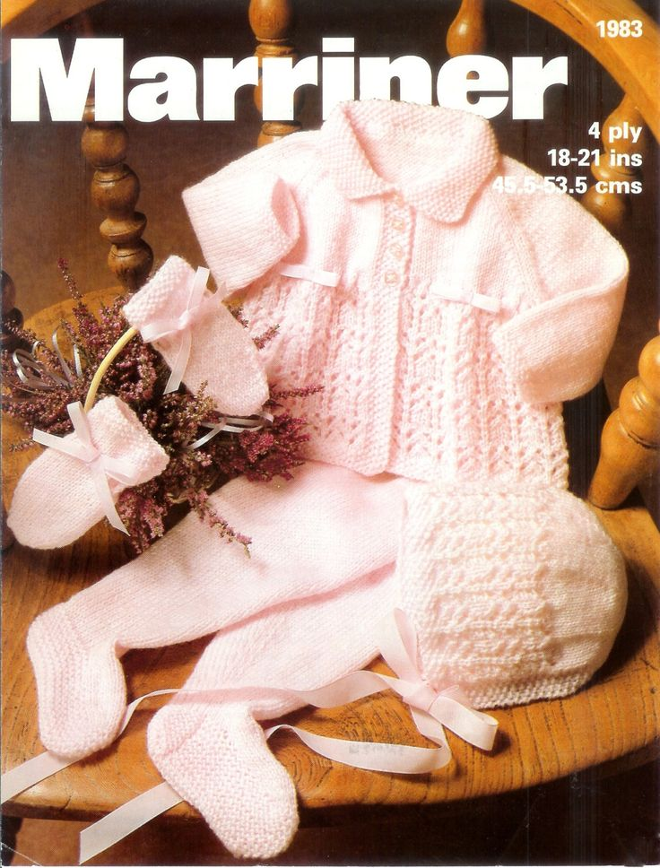 ON SALE - Baby 4ply Pram set 18 - 21 ins - Marriner 1983 - PDF of Vintage Knitting Patterns To help you decide which size to knit, I found this information in a very old baby pattern book; it provides a guideline re: weight/age/chest measurement: AGE CHEST/Pat. Size Weight Premature