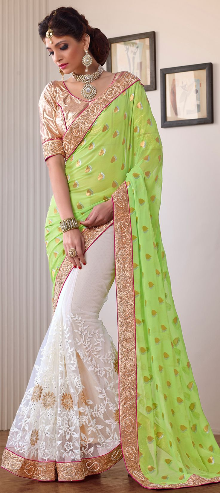 156797: #Neon is one of the best things for #Springsummer. Have a look. Order at flat 15% off+ free shipping worldwide #saree #partywear #indianwedding #indianfashion #sari #onlineshopping