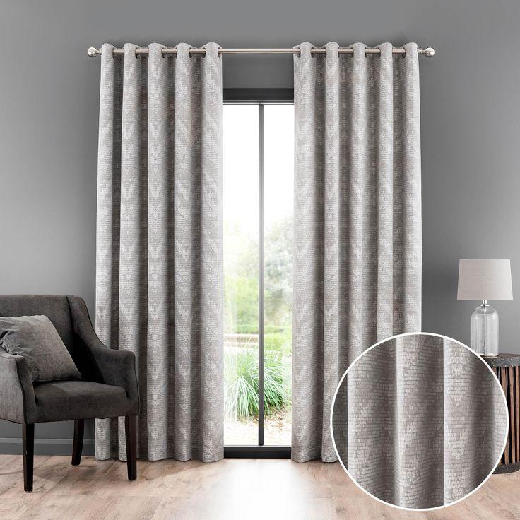 Barbary Dove Grey Jacquard Eyelet Curtains | Dunelm