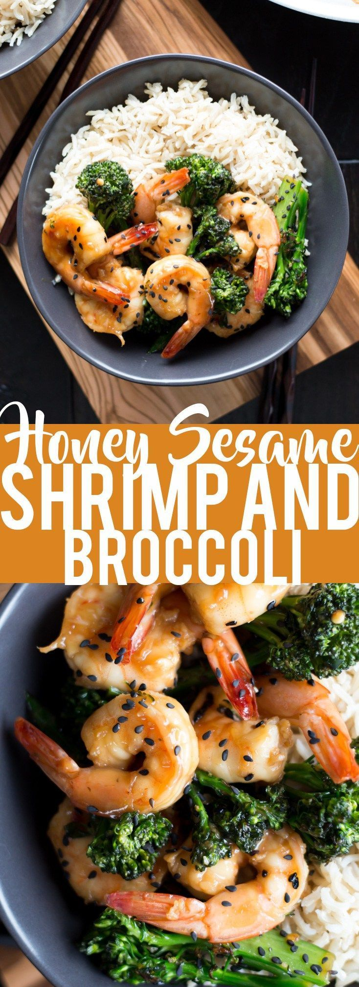 This Honey Sesame Shrimp and Broccoli is a quick and easy dinner. Shrimp and broccoli are quickly sauteed in a sweet and savory sauce that everyone will love! This is great served over rice or noodles, or you can use cauliflower rice or zoodles for a lower carb dinner.: