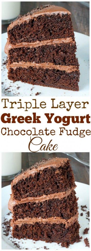 Greek Yogurt Chocolate Cake - three layers of moist chocolate cake topped with decadent chocolate buttercream! The Greek yogurt is the secret ingredient and makes it SO luscious!