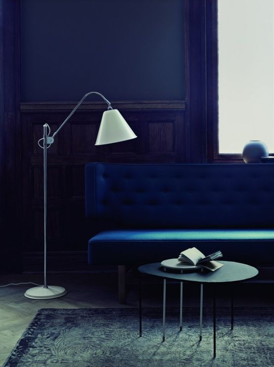 #so65  #Color Trend: Indigo Blue: Blue Rooms, Blue Couch, Indigo Rooms, Blue Sofas, Living Room, Interiors Design, Floors Lamps, Deep Blue, Moody Blue