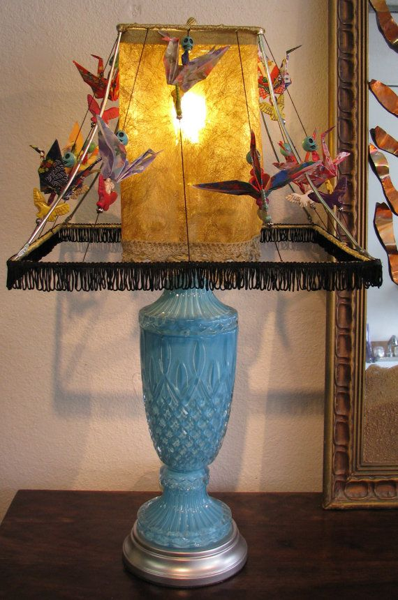 OOAK Tiffany Blue Glass Lamp with Origami by YellowRavenDesigns