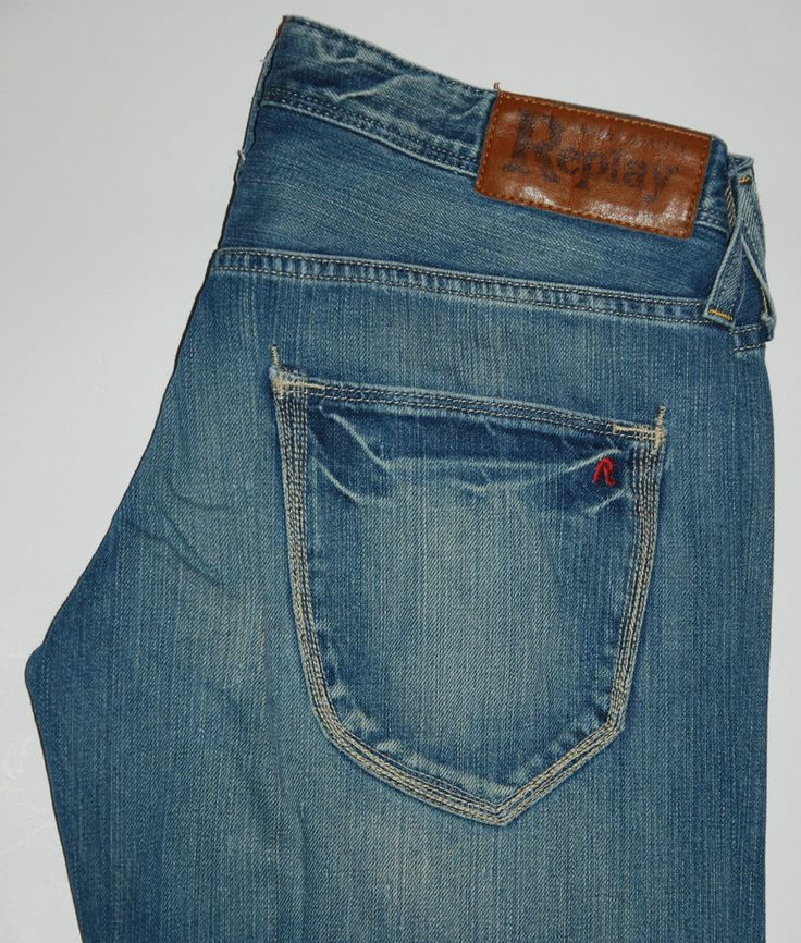 REPLAY JEANS WOMENS SLOUCH RELAXED FIT WIDE LEG FADED BLUE W30 L30