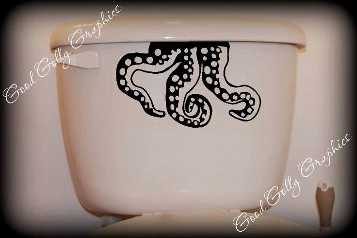 Toilet decal Octopus tentacles.  I wanna do our guest bathroom in a ocean/beach theme. love this.