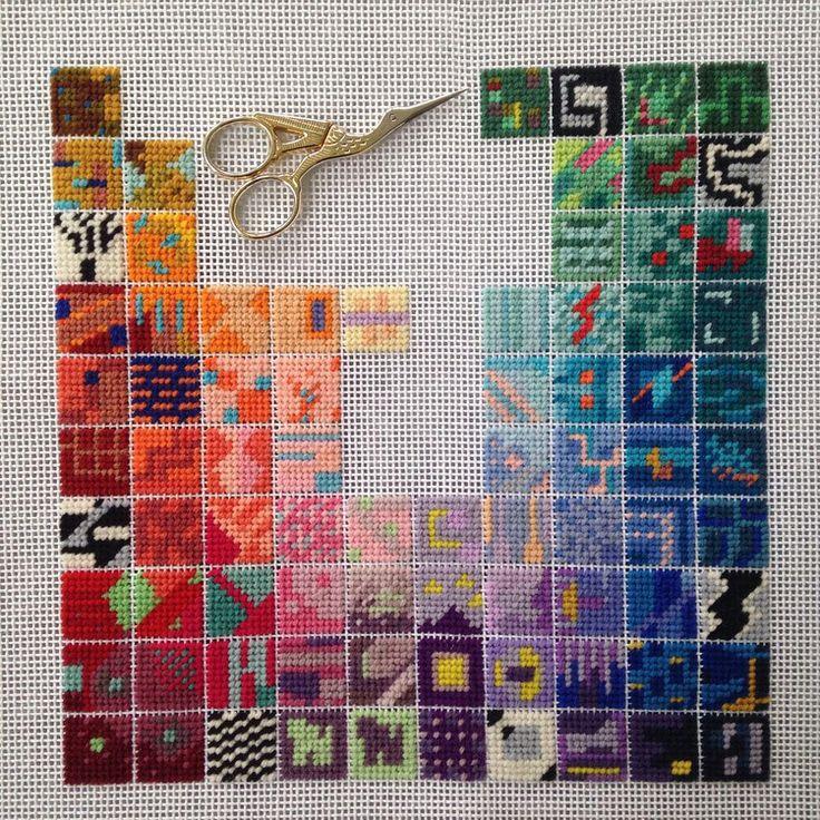 Arte de ida y vuelta: bordados de Zoe Gilbertson #Bordado #Pixelart