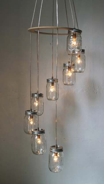 Great upcycling ideas like this mason jar light fixture that has a link to a tutorial!!