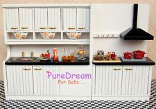 Dollhouse miniature kitchen dining furniture set cabinet w/ basin ventilator