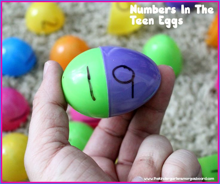 Making teen numbers with plastic Easter eggs. Tricky teens. Easter math activities.
