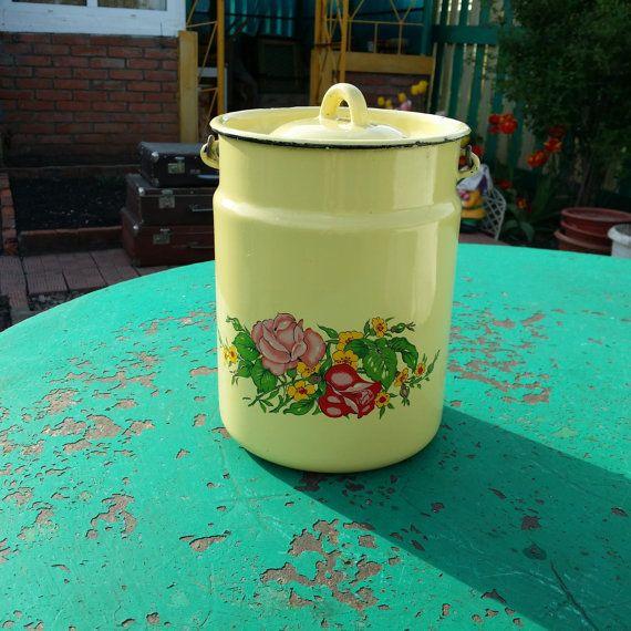 Vintage enameled cans milk container retro от USSRVintageShopUSSR