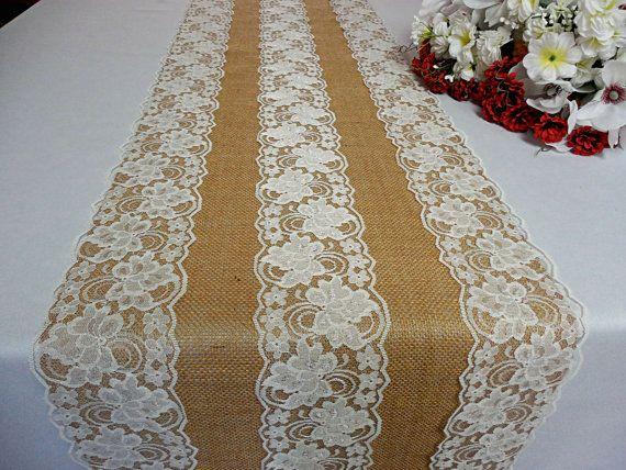 Burlap lace table runner wedding table runner by DaniellesCorner
