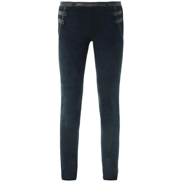 ISABEL MARANT Geeny suede military leggings ($475) ❤ liked on Polyvore featuring pants, leggings, trousers, isabel marant, military, green, military style pants, military leggings, relaxed fit pants and suede leggings