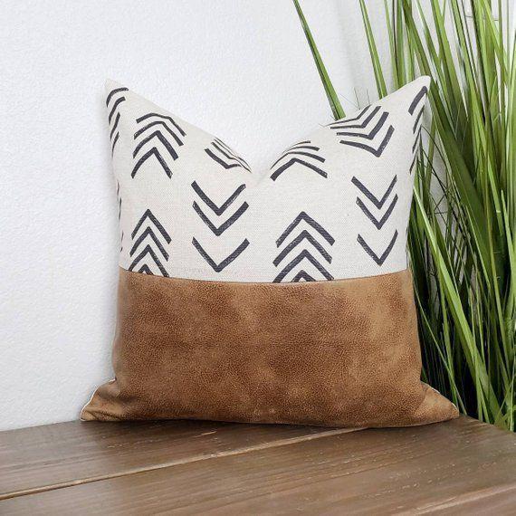 Faux Leather Pillow Tribal Pillow Fall Decor Fall Pillow Throw