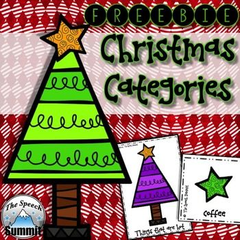 Speech Therapy  Christmas Categories {FREEBIE}  DIRECTIONS: Adorable Christmas trees and stars used to target sorting and naming categories. Merry Christmas! 1. Sort the items on the stars into the correct categories labeled under the trees.  2. Use the Christmas trees/categories and list as many items as you can in each group.  3.