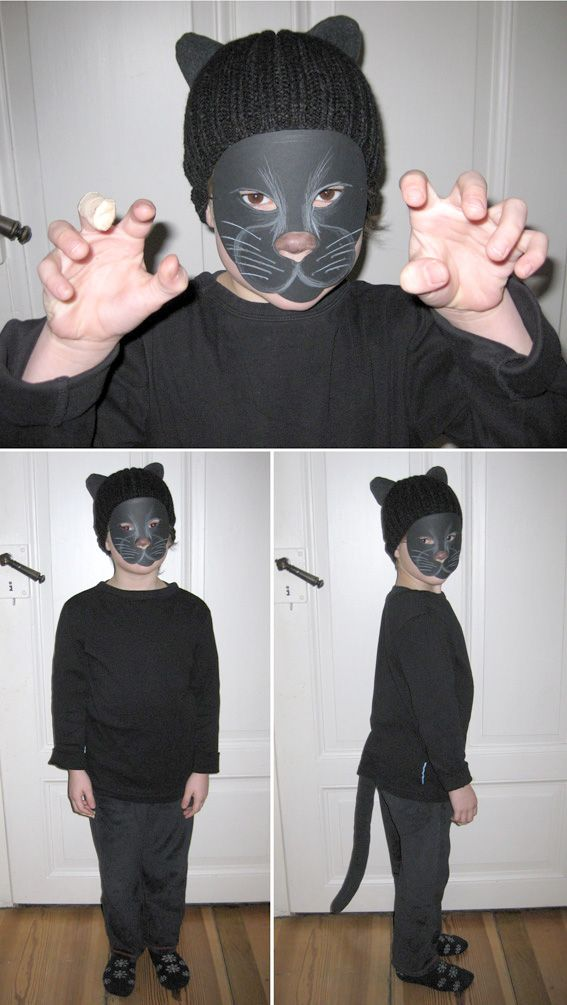 Crafted a costume from a knit cap, an old fleece scarf, a little bit stuffing, an elastic strap, pajama pants, a longsleeve and black cardstock... McGyver was yesterday - hello little black panther.
