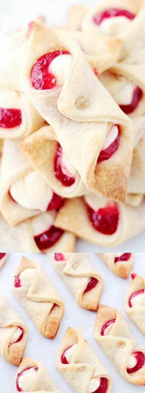 These Strawberry Cream Cheese Pastries from Diethood will seriously disappear in seconds. They are soft, flaky cream cheese pastries that are filled with a sweet cream cheese mix and strawberry jam! This delicious treat would make the perfect breakfast, brunch, or Christmas morning treat!