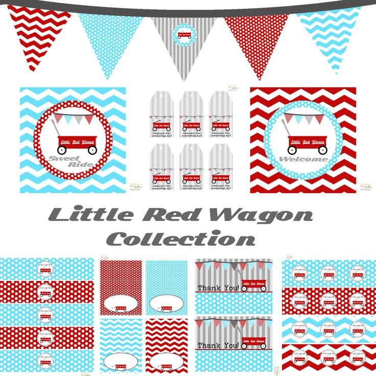 Little Red Wagon Decorations for Birthday Party or Baby Shower - Boys DIY Printable Decor by BeeAndDaisy - Instand Download. $12.00, via Etsy.