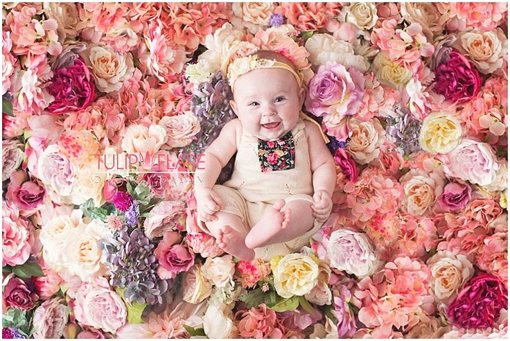 three month old baby in a bed of flowers for a brisbane photographer
