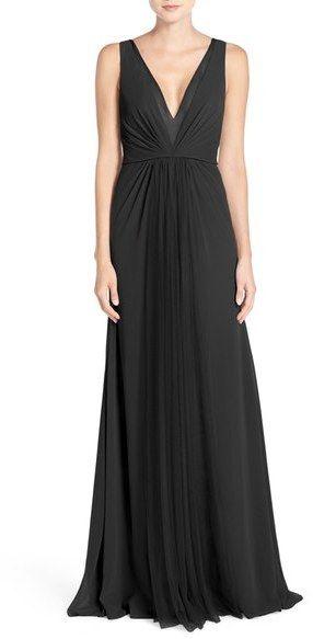 Monique Lhuillier Deep V-Neck Chiffon & Tulle Gown