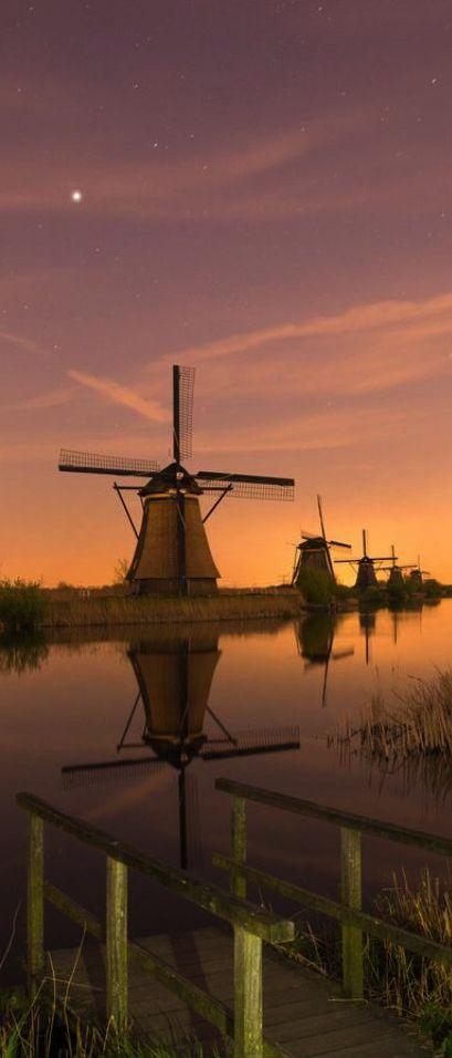 Dutch Windmills at Kinderdijk, Netherlands