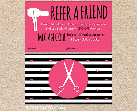 hair salon referral cards, hairstylist referral cards, referral cards for hair…