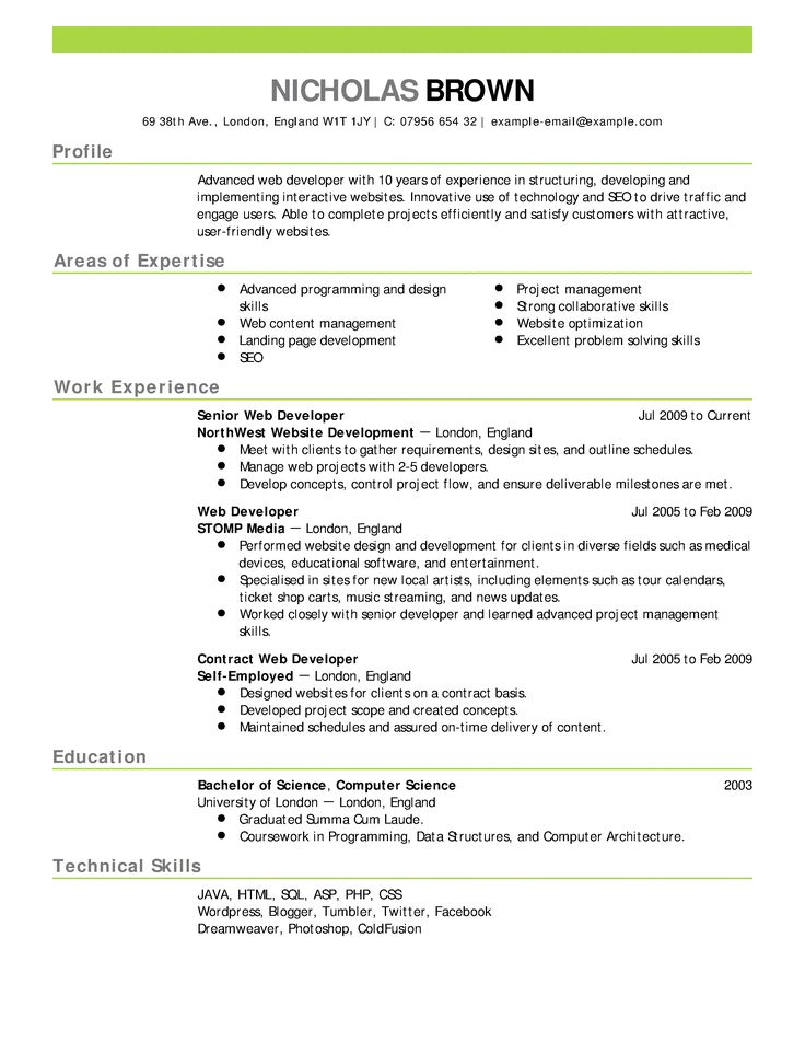 sample php developer resume database developer resume it job