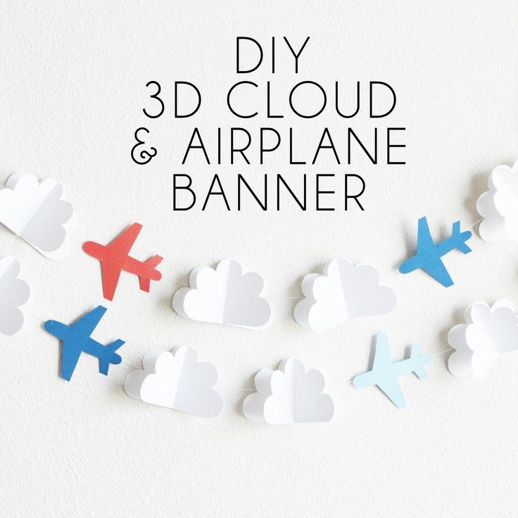 DIY 3D Cloud & Airplane Banner - Posh Tart Parties