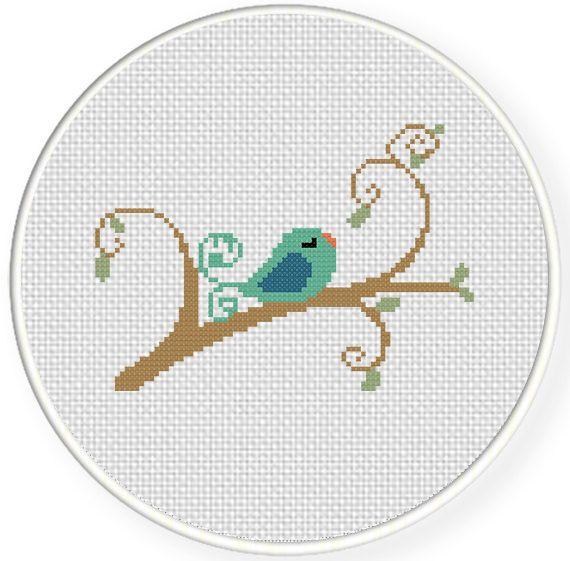 Bird in branch Cross Stitch Pattern