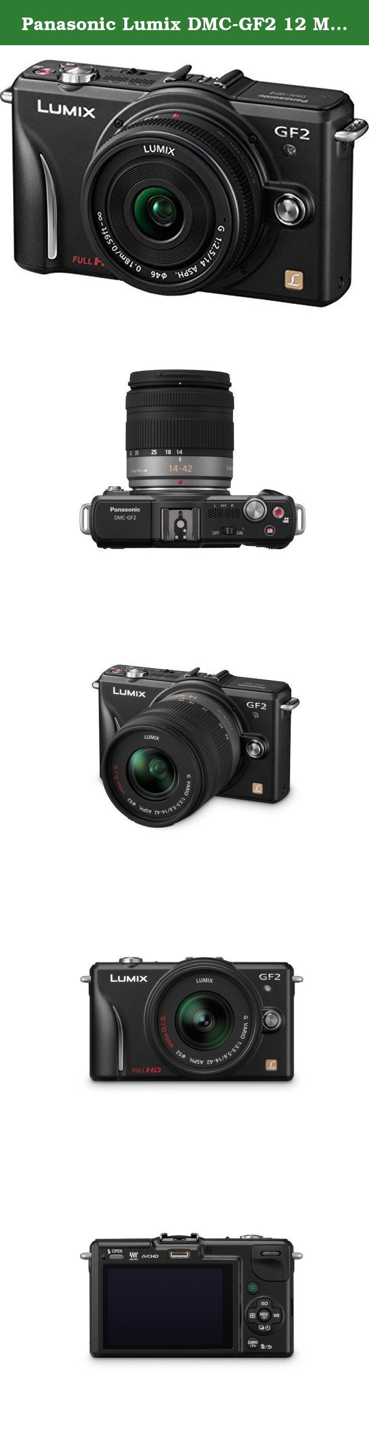 Panasonic Lumix DMC-GF2 12 MP Micro Four-Thirds Mirrorless Digital Camera with 3.0-Inch Touch-Screen LCD and 14-42mm Lens (Black). The LUMIX GF2 is Panasonics signature DSL Micro Compact system camera in its mirrorless line-up, as it it's the smallest and lightest model offered by Panasonic, while still offering the superb image quality expected from LUMIX. Comparing to the GF1, its predecessor, the GF2 has been reduced approximately 19% in size and approximately 7% in weight yet is still...