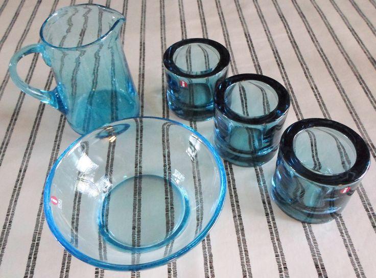 Turquoise glass; 3 Kivi Marimekko votives, a Verna glass bowl, designed by Kerttu Nurminen 1998; little pitcher unknown