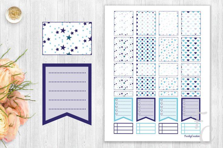 Free Blue printable stickers