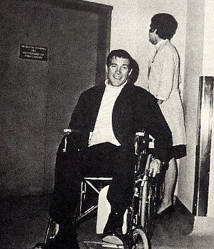 "Here is Chris leaving the hospital from his near-fatal accident while filming a scene from his TV show ""The Rat Patrol""."