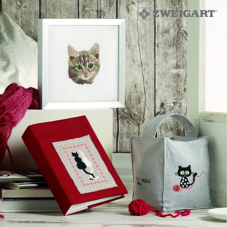 Süßes Kätzchen mit Wollknäul sticken #Sticken #Kreuzstich / #Katze; #Embroidery #Crossstitch / #cat /  #ZWEIGART