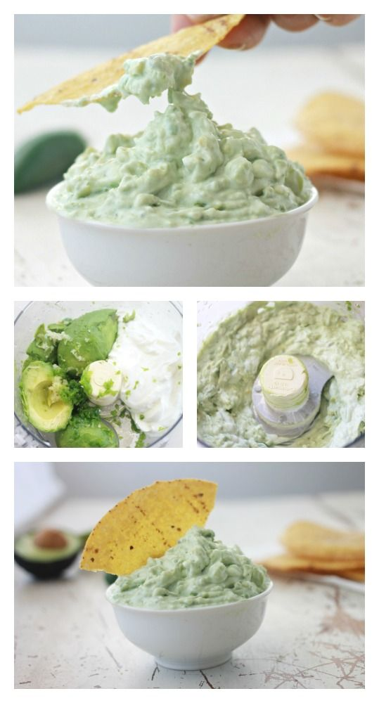 Creamy, Rich, simple Greek Yogurt Avocado Dip via coconutalmondrecipes.com