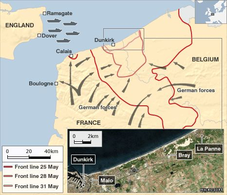 Map showing Dunkirk rescue locations