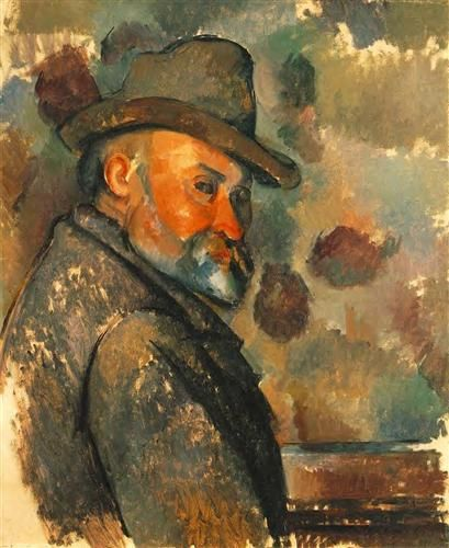 Pull Cézanne1894  Autorretrato con un sombrero de fieltro