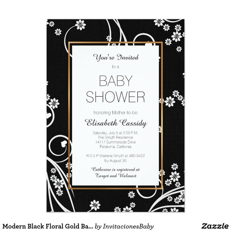 Modern Black Floral Gold Baby Shower Invitation