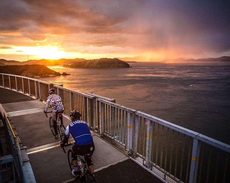 「Riding into the sunset on what was an epic day along the Shimanami Kaido cycling route. Of course, it wouldn't be a Big Ride without a few detours thrown…」