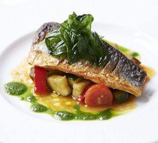 Pan-fried sea bass with ratatouille & basil