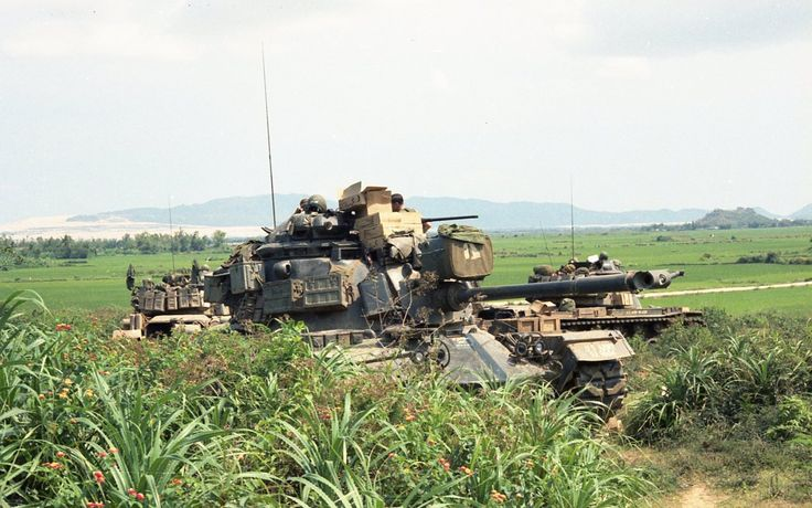"""Tanks from 3rd Platoon, C-1-69 Armor, in """"laager"""" position during operations with the Koreans in the Sui Kai Valley, Qui Nhon, late 1968. Submitted by a veteran."""