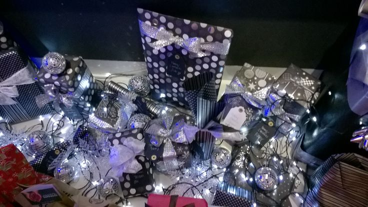 Black and silver giftwrapping.