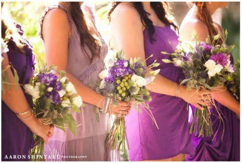 Purples, green, white