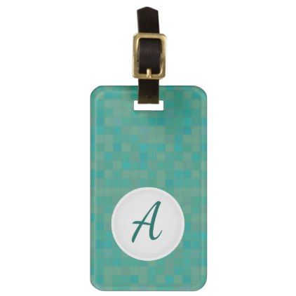 Green mosaic pixelated design luggage tag. bag tag - initial gift idea style unique special diy