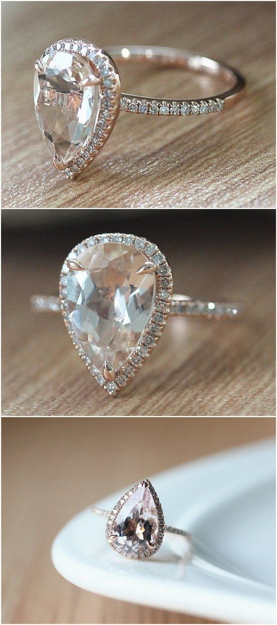 Pear Cut 2.75CT Natural Light Pink Rose Gold Half Pave Diamonds Engagement Ring / http://www.deerpearlflowers.com/inexpensive-engagement-rings-under-1000/2/