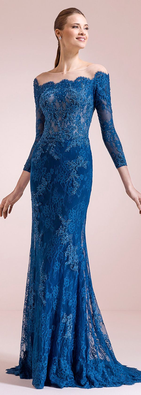 Glamorous Tulle & Lace Bateau Neckline Mermaid Evening Dresses With Lace Appliques