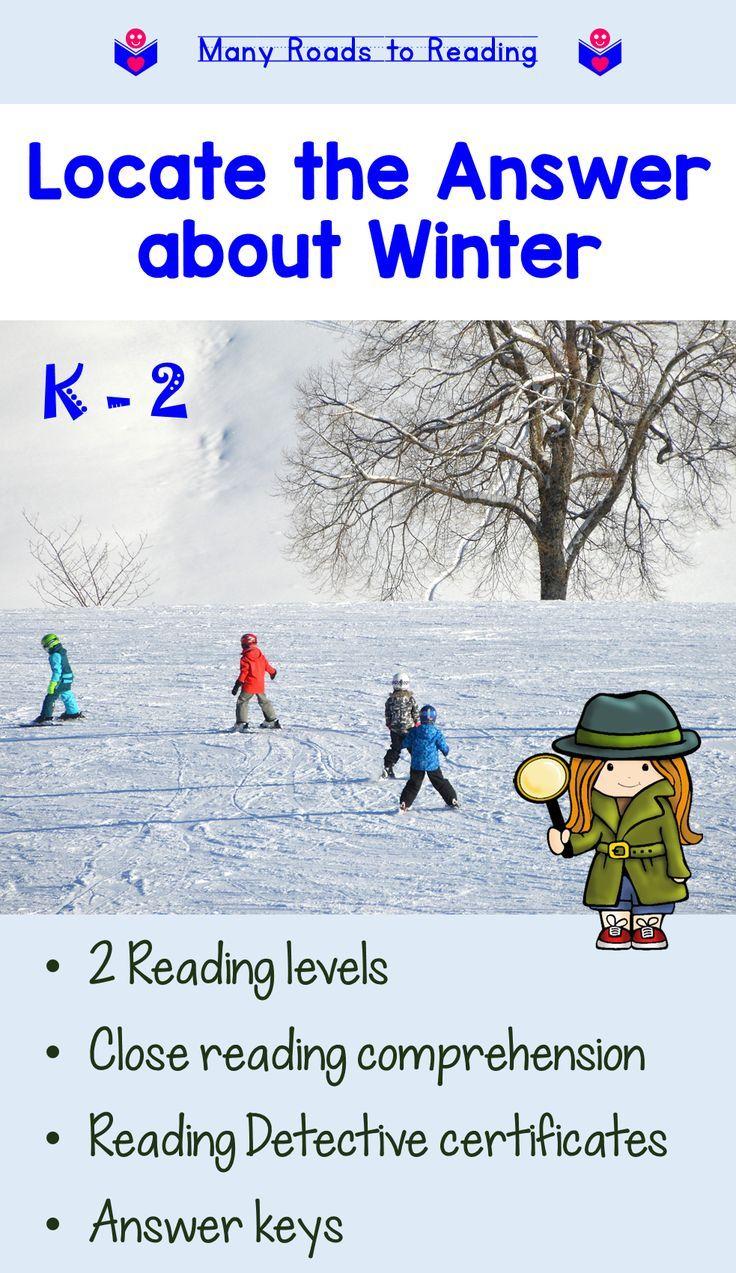 Winter Reading Activities Comprehension Close Reading Comprehension Reading Comprehension Winter Reading Activities Guided reading activities for winter
